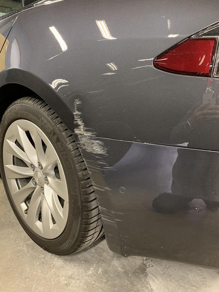 テスラ MODEL S キズへこみ 板金塗装修理