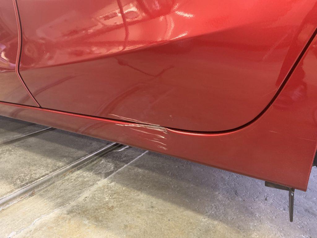 マツダ デミオ DJ5FS キズへこみ 板金塗装修理