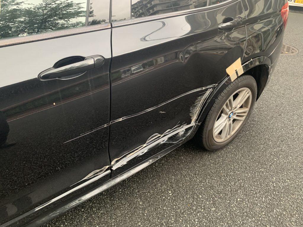 BMW F25 X3 キズへこみ 板金塗装修理